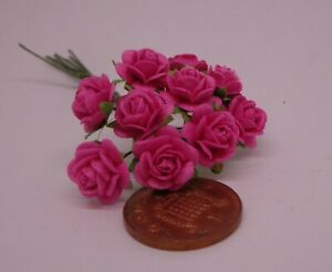 1:12 Scale Pink Paper Roses Dolls House Miniature x 10