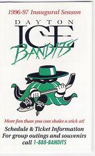 1996-97 DAYTON ICE BANDITS INAUGURAL SEASON POCKET SCHEDULE - RARE COLLECTIBLE!