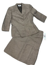 NWT Le Suit Linen Jacket Skirt Set Women's Size 8 Birds Of Paradise Mocha Ivory