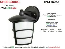 CHERBOOURG LED Wall Light in Matt Black & Opal Outdoor Porch Caged Lantern  IP44