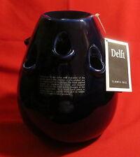 """Marja Van Meeren 1998 Delft Flower Vase ~ Nine Holes ~ Netherlands ~ 9"""""""