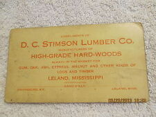 Vintage Advertising Card for D.C. Stinson Lumber Co. Leland MS & Owensboro KY