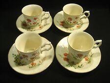 MIKASA Fine China  Margaux D1006 Pattern  4- CUPS & SAUCERS SETS  Floral Design