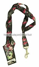 H.E.R. ACCESSORIES Lanyard MONSTER HIGH Necklace wKeychain Clip PINK+BLACK Kids