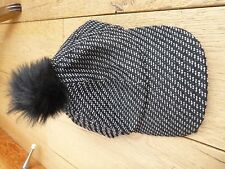 BCBGENERATION WOOL WOVEN BAKER BOY HAT CAP BLACK WHITE FUR POM POM BOBBLE BNWT