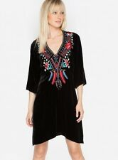 $328 JOHNNY WAS AVA EMBROIDERED VELVET TUNIC DRESS TOP BLACK TRAPEZE SZ 1X NWT