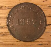 1857 PRINCE EDWARD ISLAND 1/2 PENNY TOKEN LARGE CLOVER XF AU PE7C2    2431