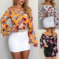 Women Floral Print Off Shoulder Long Bell Sleeve Blouse Casual Summer Top Shirts