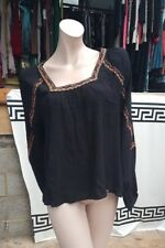 BNWT Superdry The Festival Fringe Ladies Blouse Size L Black Embroidery Beads