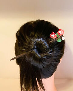 Wire Twisted Kanzashi Wooden Hair Sticks with Czech Beads Cherry Blossom Design