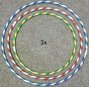New 3 x Multi Colour Kids ADULT Hula Hoop Durable Plastic Indoor Outdoor Fitness