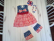 girls toddler children ruffle dress pants 4th of july outfit necklace star sz 4t