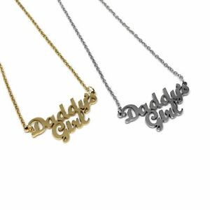 Daddys Girl Stainless Steel Necklace l FREE UK POST Gold Silver Baby Font Chain