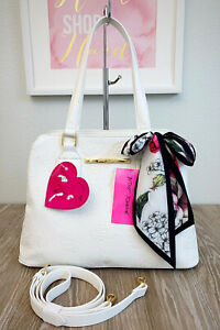 BETSEY JOHNSON Satchel with Scarf White Debossed Rose Flowers BB19315