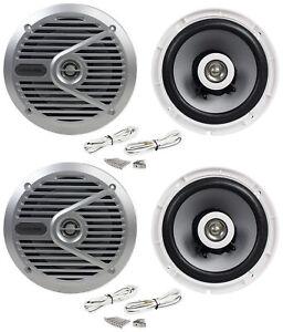 "(4) Alpine SPS-M601 Pair 6.5"" 2-Way Marine/Boat Coaxial Speakers"