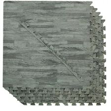Clevr 100 SqFt Eva Sea Haze Grey Wood Grain Foam Mat Interlocking 2'X2' 25pcs