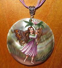 véritable russe peint à la main pendentif coquillage Windflower fée fleur signé