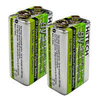 2 of HiTECH #1 9V Rechargeable LiPoly 720mAh(=NiMh 3 times power)for Electronics