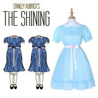 The Shining Grady Twin Daughter Cosplay Costume Women Girls Blue Dress Halloween