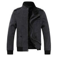 Men's Stand Collar Woolen Jacket Outwear Zipper Slim Fit Fleece Lined Warm Coat