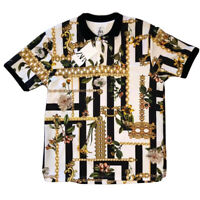VIVID Zara White Black Gold Chains Short Sleeve Polo Shirt Men's XL Green Buds