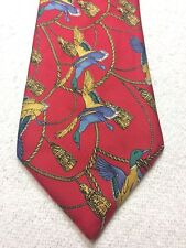 RARE ALAIN FIGARET MENS TIE RED WITH BLUE GREEN GOLD DUCKS AND TASSELS  3.5 X 61