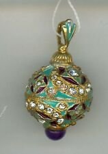 Russian Faberge Silver egg Pendant Lt. Blue/purple ins. w/gold decor & stones.