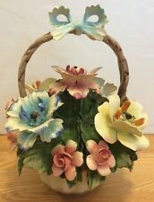 Capodimonte Nuova Porcellane Flower Basket Mint Italian Large Center Piece Bow
