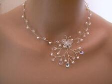 Collier Beige clair/Cristal Papillon pr robe de Mariée/Mariage/Soirée perles