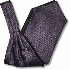 Mens Patterned 'Under Shirt' Cravat Tie Royal Ascot Purple, Silver Grey Aztec
