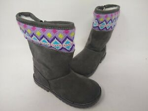 NEW! Cherokee Toddlers Girl's Jayla Sweater Zip Up Boots Gray #17730 201K cc