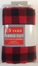 "Buffalo Plaid Red & Black Flannel Fabric 1.5yd Pre-Cut David Textiles 54"" x 42"""