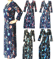 Women Floral Boho Evening Party Summer Beach 3/4 Sleeve Dress Long Maxi Sundress