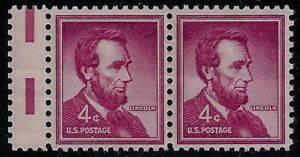 """1036 - 4c Miscut Error / EFO Gutter Snipe Pair """"Lincoln"""" Mint NH"""