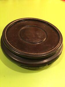 Round Wooden Vase Platform, Carved Riser, for Decorative Collectible, Home Decor