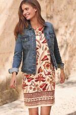 NEXT Natural Red Orange Floral Linen Shift Tunic Summer Sun Dress UK 12 BNWT