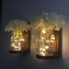 Lighted Mason Jar Wall Sconce with LED Fairy Lights White Hydrangeas Handmade