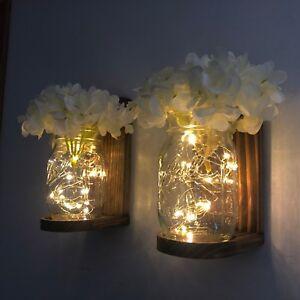 Lighted Mason Jar Wall Sconce with LED Fairy Lights White Hydrangeas Handmade