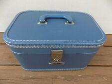 Vintage Blue Travel Smart Hard Luggage Train Case Carry On with Mirror