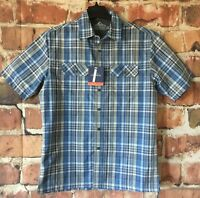 Croft & Barrow Mens Quick Dry Shirt Small Short Sleeve Vented Blue Plaid (X27)