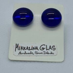 Blue Glass Cabochon Pierced Earings Handmade Mikkalina Glas