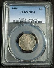 1884 Proof V Nickel. PCGS PR64. Beautiful Lustrous Gem from Vintage Proof Set