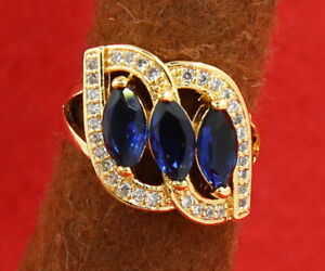 Pretty Jewelry Natural 3.13ct Sapphire 14k Solid Yellow Gold Ring Size 8#