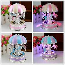 Kids Girl Boy LED Horse Carousel Music Box Toy Clockwork Musical Christmas Gifts