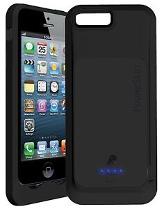 APPLE CERTIFIED POWERSKIN BLACK 1500MAH BATTERY CASE RECHARGEABLE IPHONE 5 5S