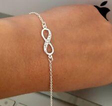 Genuine 925 Sterling Silver Infinity Link Bracelet Bridesmaid Gift Jewellery Box
