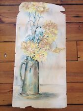 "Original Vintage Mid Century Crysthanamum Flowers Painting Watercolor 29""x13"""