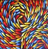 original art fish ocean by Jane Crawford painting Australia yellow red blue