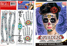 Day of The Dead Sugar Skull Flower Face Mask Hand Arm Skeleton Temporary Tattoos