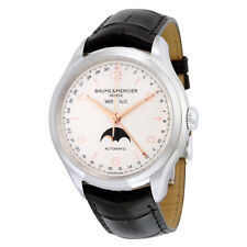Baume and Mercier Clifton Silver Dial Moonphase Black Leather Mens Watch 10055